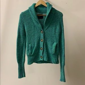 American Eagle Green and blue marled sweater